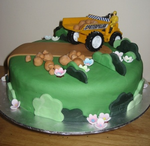 Digger Birthday Cake - maderia with fondant